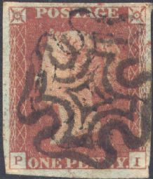 1841 1d Red SG8 Plate 24 'PI'